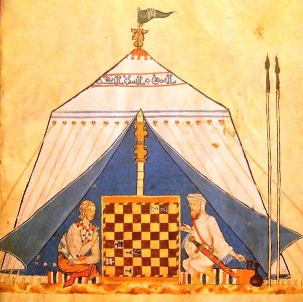 Musliman i kršćanin igraju šah. Naslikano 1285. godine