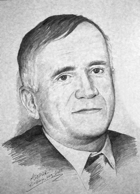 Portret Braha Adrovića. Crtež: Aldemar Ibrahimović, 2015.