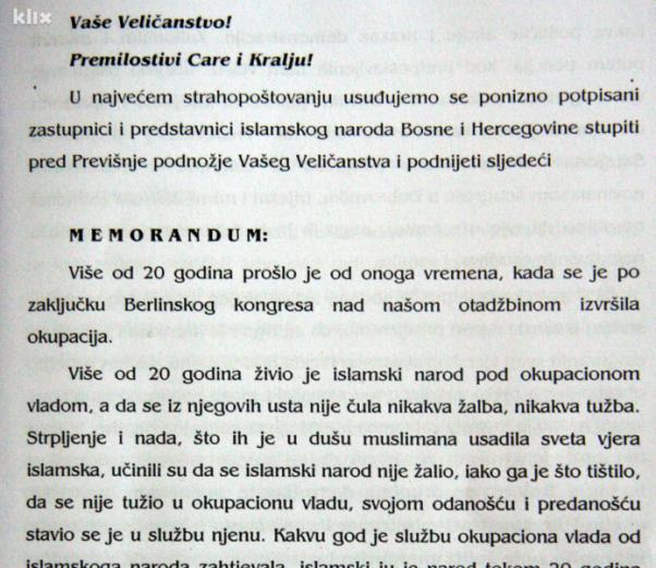 Memorandum predstavnika Bošnjaka Franji Josipu