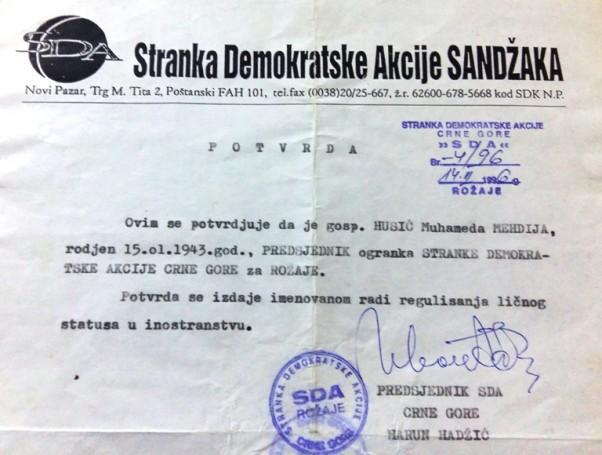 Potvrda da je Mehdija Husić predsjednik SDA Crne Gore za opštinu Rožaje